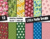 Design Digital Paper, Flower texture, Floral papers, Roses, Dots, Dais, Green leaves, Blue flowers, Scrapbook Paper Pack, Instant Download