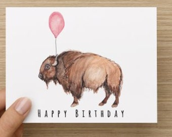 Bison Birthday Card