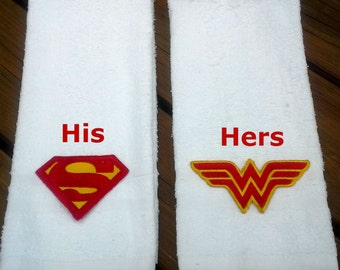 Superman and Wonder Woman Hand Towel Set - Super Hero His and Hers