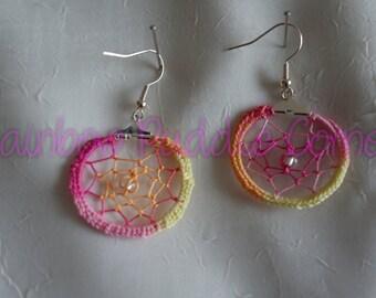 Tropical Punch Dreamcatcher earrings, pink, yellow, orange, dangle earrings, OOAK, unique needle tatting