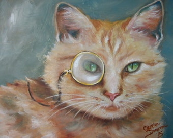 CUSTOM STEAMPUNK 8 x 10 Pet Portrait, Monacle Cat, Oil Painting