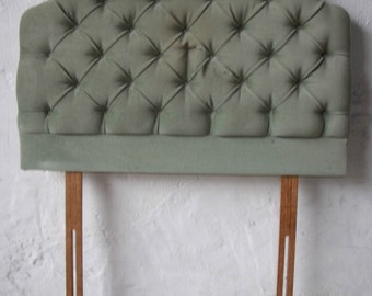 Green Buttoned Fabric Headboard