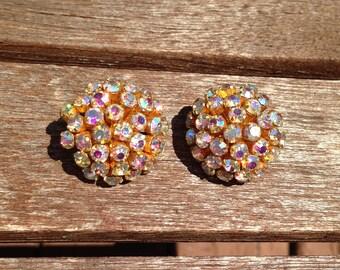 Vintage  AB Rhinestone Sunburst Flower Earrings