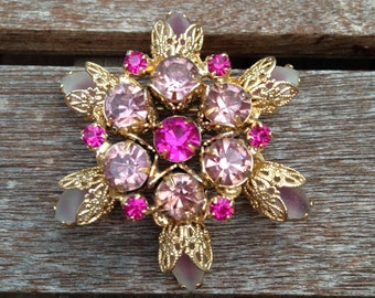 Vintage Pink and Fuchsia Rhinestone with Gold Filigree Flower Pin
