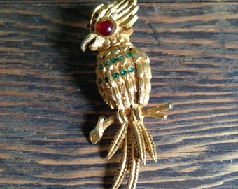 Vintage Gold Bird Brooch with Red and Green Glass Stones