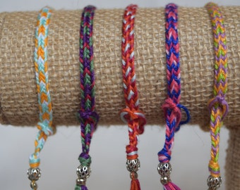 Hand Woven Fiendship Bracelets with Medal Beads - 10 for 15 dollars