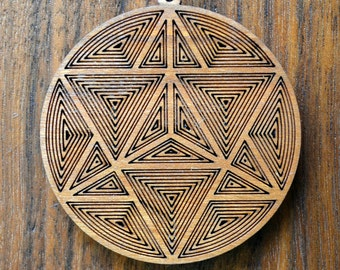 Star Tetrahedron Linework Pendant - Sacred Geometry Laser Cut Natural Wood LT10003