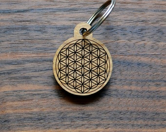Flower of Life Keychain - Precision Laser Cut Sacred Geometry Quality Hand Finished Natural Wood LT30002