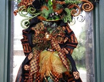 Halloween Swag, Halloween Wreath, Witch Wreath, Witch Swag, Green Witch Wreath, Green Witch, Witch Legs Witch Hat