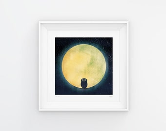 Wide Awake - Owl and the Moon Print