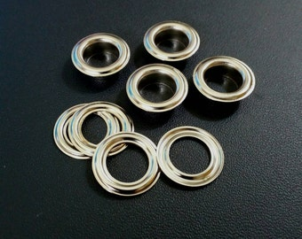 100 sets, 11 mm. Metal Eyelets Grommets with Washers, Silver Tone Metal Eyelets.