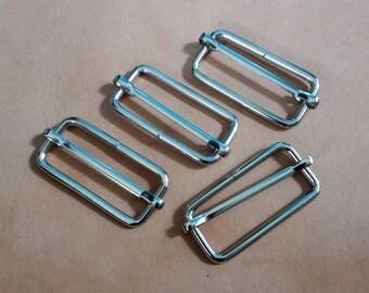10 Pcs, 1.5 inch (38 mm./3.8 cm.) (inner) Nickel Strap Slider, Strap Adjuster Slider, Bag & Purse Hardware.