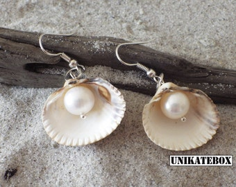 Clam freshwater cultured pearl earrings