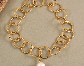 Gold chain bracelet, pearl brass bracelet, tumbaga jewelry, adjustable bangle, stackable bracelet, plain link bracelet, braid jewelry.