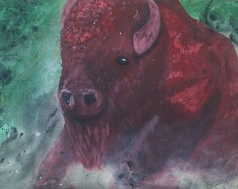 Bison Painting Original Acrylic