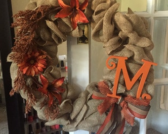 Burlap fall handmade wreath