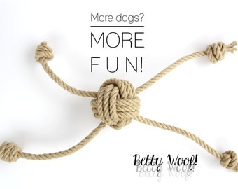 SMALL Dog Toy for multiple Dogs! Tug of War - Fetch - made of Hemp Rope - up to four dogs