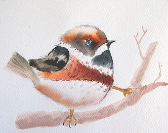 Bird painting ORIGINAL bird art Original watercolor bird painting Small bird on branch Bird watercolor painting Art