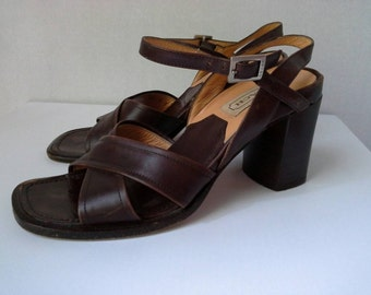 Vintage Coach Shoes, Coach Sandals, Coach Shoes Made in Italy, Coach Heels, Coach Leather Shoes, Coach Chunky Heel Sandals