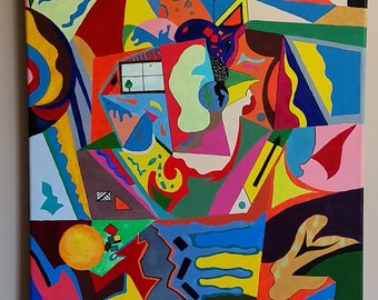 Abstract, modern, fine art, contemporary, oil, canvas, original, acrylic, colorful, geometrical, shapes