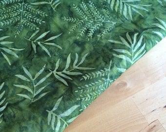 Moss green batik fabric by the yard or fat quarter, fern leaf fabric, hand dyed fabric, cotton fabric, green quilt fabric yardage