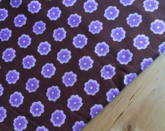 Brown & lilac fabric by the yard fat quarter, modern floral fabric, OOP geometric fabric, floral cotton fabric, daisy quilt fabric yardage