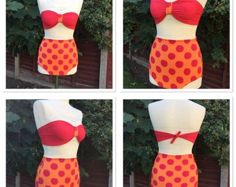 High waisted retro bikini bandeau top in bright red and orange polka dot SML lycra