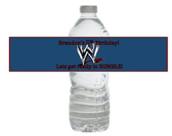 WWE Birthday Party Personalized Drink Label Downloand