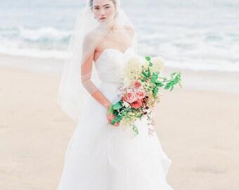 Celebration Skirt - Layered tulle and horsehair trim wedding skirt. Two piece wedding dress. Bridal Separates. Tulle wedding skirt overlay.