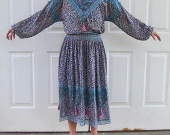 Vintage Floral Dress Designer Diane Freis Blue Purple Vintage Dress
