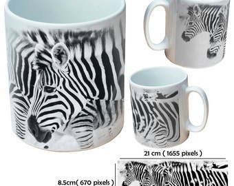Custom animal zebra picture mugs cup as a special personalised gift for an animal lover for all occasions