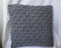 grey cushion cover, stag cushion cover, knit cushion cover, reversible grey pillow, grey knit cushion, knit pillow cover, OOAK cushion cover