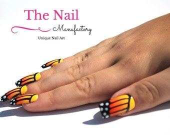 Yellow Butterfly Fake Nails  - Set of ten Artificial Nails - Square Nails - Orange-Yellow Obre Effect - Unique Nail Art - Press on Nails