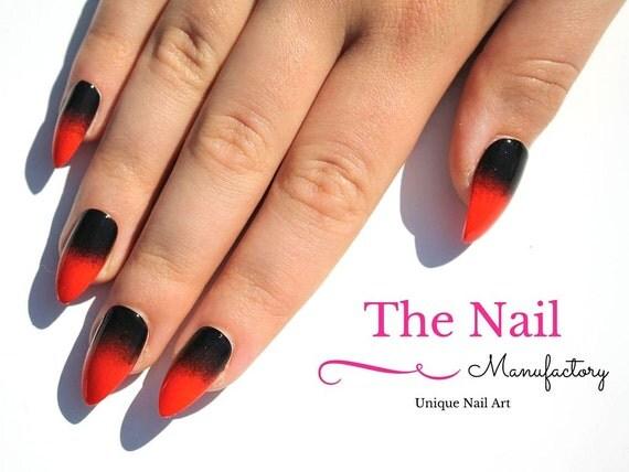Orange-Black Fake Nails Halloween Nails Art Handpainted