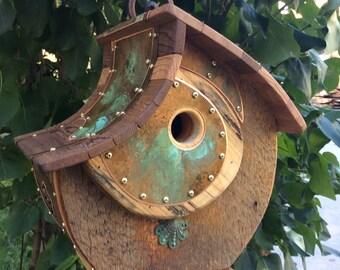 Unique Birdhouse Barnwood Halfmoon Handmade Reclaimed Vintage Birdhouse Gift #1216