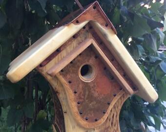 Unique Barnwood Songbird Birdhouse Reclaimed Recycled Handmade Vintage Birdhouse Wedding Gift  #1211