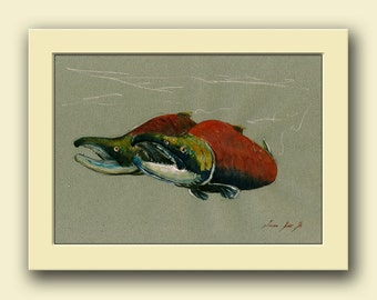 Sockeye salmon fish - fish watercolor animal decor-salmon fishing -sockeye wall art -red salmon- Original watercolor painting- Juan Bosco