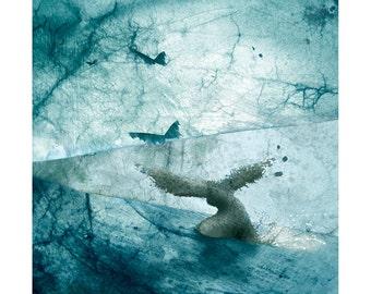 Fenix, fine art print, digital art, abstract art, blue