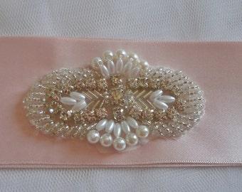 Ava Blush Pink Bridal Sash