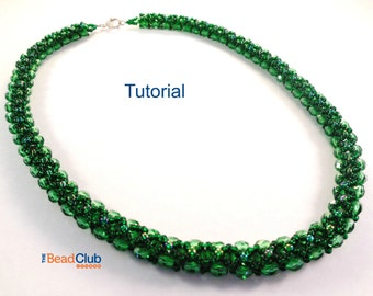 Right-Angle Weave (RAW) Necklace Pattern, Beading Pattern, Beading Tutorial, PDF- Reversible Necklace Tutorial