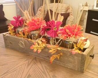 Wood planter box centerpiece, Rustic wood centerpiece, Wedding centerpieces, Holiday centerpieces, Table Centerpieces,
