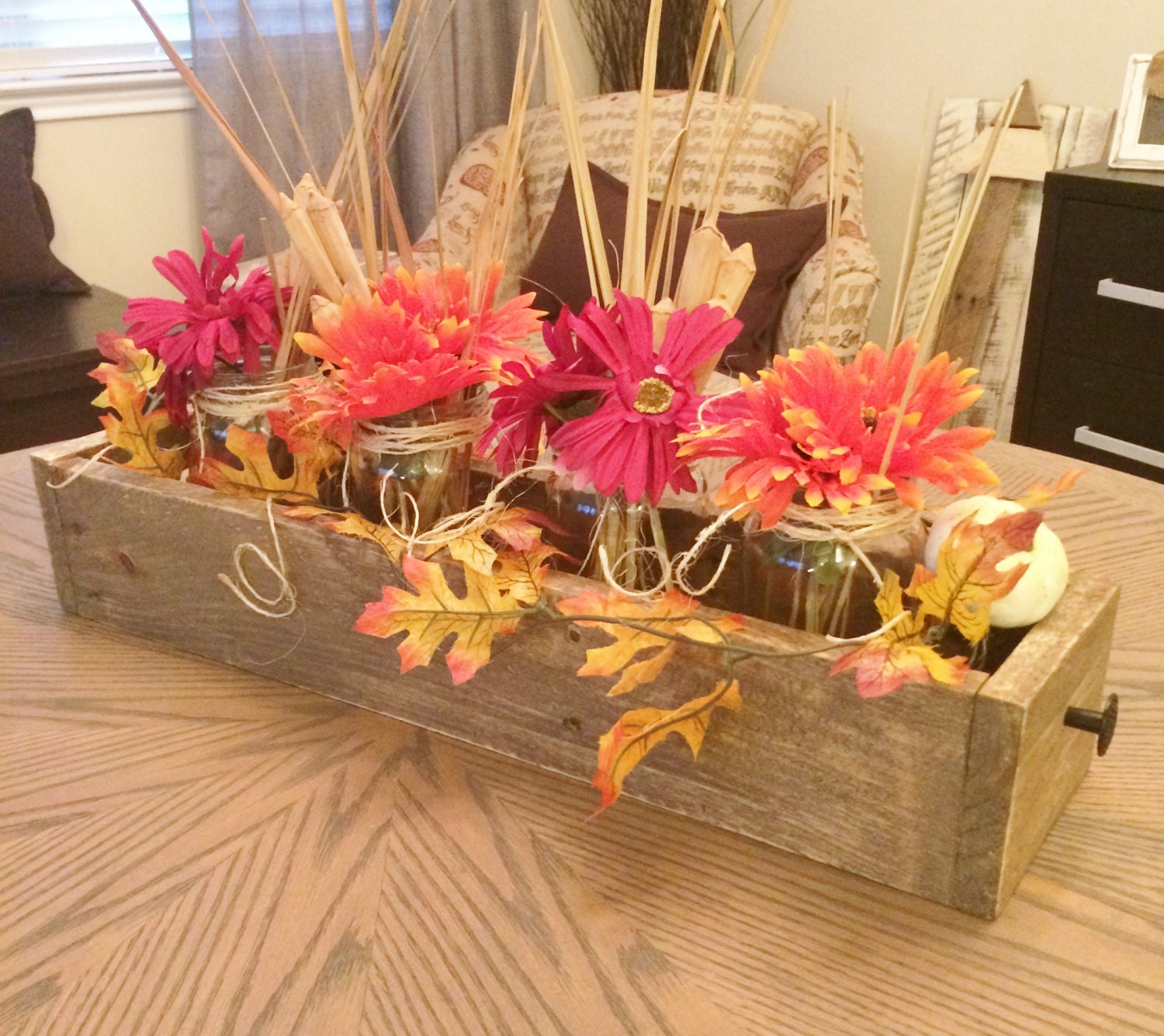 Wood planter box centerpiece rustic by purehomeworks