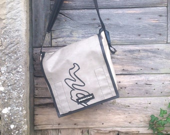 Vintage Freitag Messager Bag Made Of Upcycled Truck Tarp And Safety Belt Reclaimed Materials Recycled Vinyl Retro Look