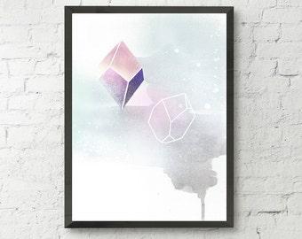 Crystal geometric modern art print, watercolour art, artwork, home wall decor, apartment decor, gift,