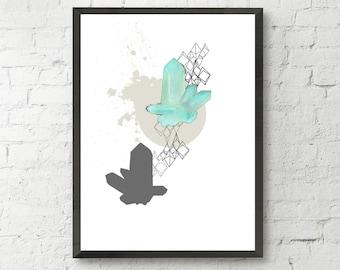 Crystal print, crystal cluster, modern print, geometric illustration, watercolor, home wall decor, apartment decor