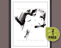Female nudity drawing, Naked woman painting, Nude art, Sexy nude painting, Nude print, naked, gift for man, Bedroom wall deco painting, 3227