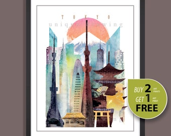 Japan Tokyo, City of Tokyo, Tokyo skyline, Tokyo cityscape, Tokyo landmarks, Tokyo print. Tokyo poster, Tokyo painting, wall deco art, 4108