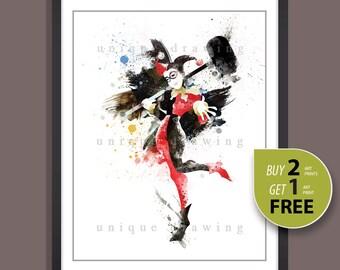 Batman movie poster, Batman print, Harley Quinn print, Harley Quinn poster, Superhero poster, Kids Decor, Nursery Decor, Wall print, 3508