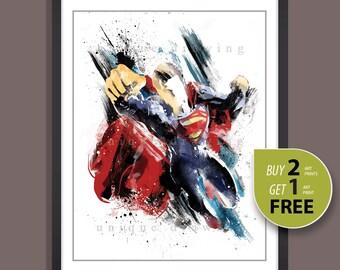 Suprhero movie poster, Superhero Superman print, Superman poster, Superman painting, Superhero wall art, Kids Decor, Nursery Decor, 3523