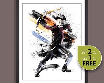 Avengers movie poster, Superhero movie poster, Superhero Hawkeye print, Hawkeye poster, Hawkeye painting, Kids Decor, Nursery Decor, 3521